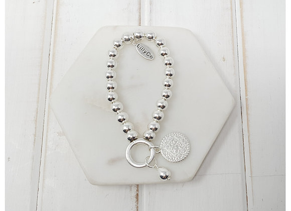 Lilly Co - silver disk on ring bracelet