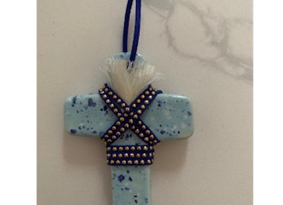 George & Cole - Light Blue Speckle Mini Ceramic Cross