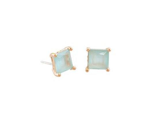 Tiger Tree - Aquamarine Crystal Stud Earring