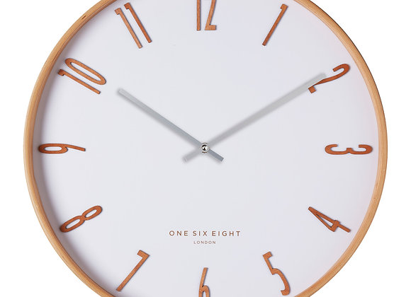Timber Framed White Wall Clock
