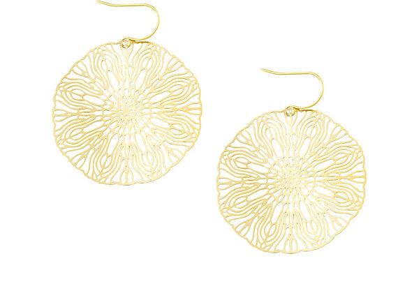 Tiger Tree - Gold Large Circle Earring
