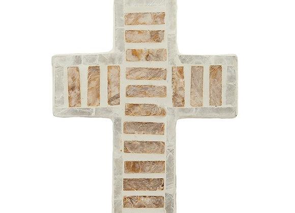 Inlay Cross Stripe Design Ivory Tan