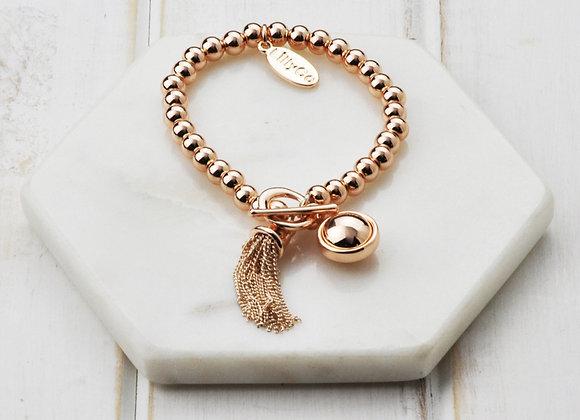 Lilly Co - Rose Gold Tassel & Fob Bracelet