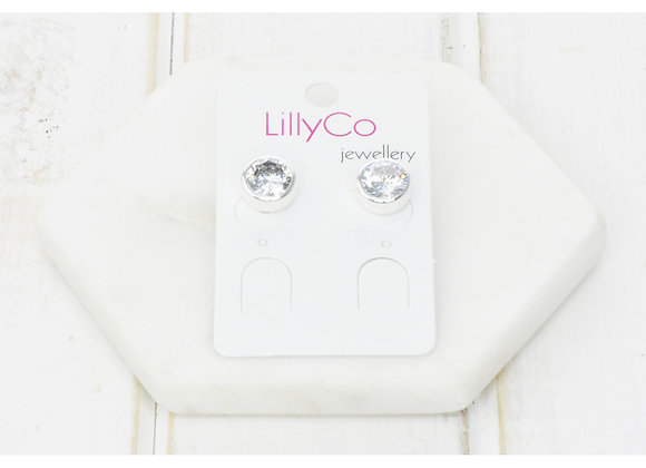 LillyCo - Cubic Zirconia Silver Battered Stud Earring