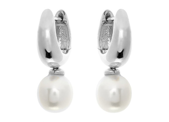Sybella - Rhodium hoop & fresh water pearl earrings