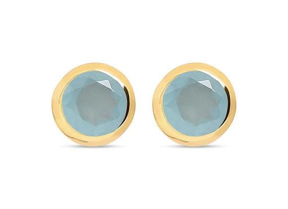 Susan Rose - Diva Gold Aqua Calci Stud Earring