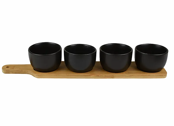 Bamboo Tray W/4 Black Ceramic Bowls