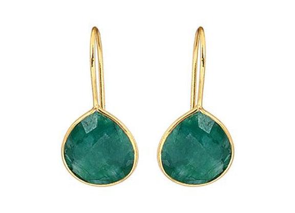 Susan Rose - Alisha Emerald Pear Gold Earring