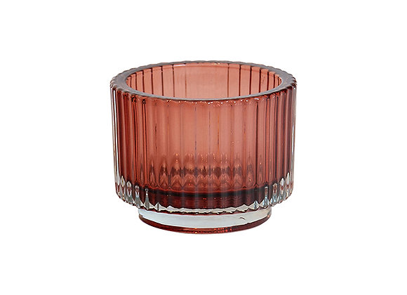 Glass Ribbed Votive Pink small