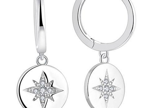 Susan Rose - Sterling Silver Solid Disc with Star Earring