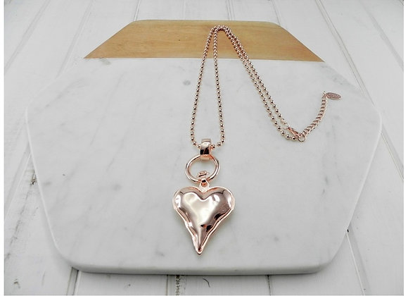 Lilly Co - Rose Gold Ball Chain with Heart Necklace