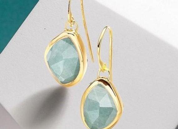 Susan Rose - Rena Aqua Chalcedony Gold Earring