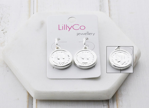 LillyCo - Silver Coin Earring