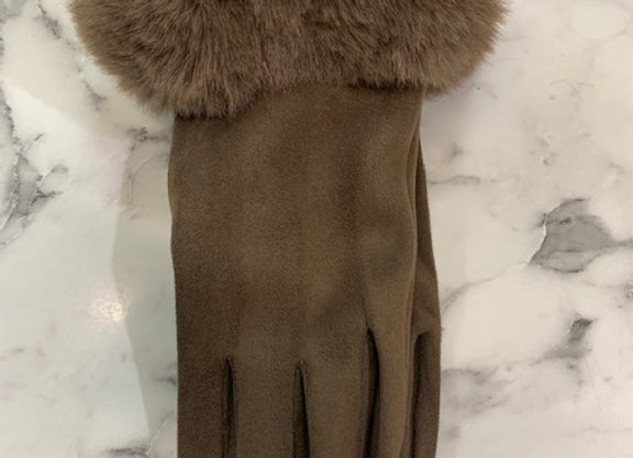 Glove fur trim - Mocha