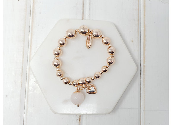 Lilly Co - Rose Gold Pink Stone Bracelet