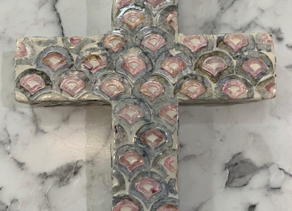 Inlay Cross Pink/Grey/Ivory large
