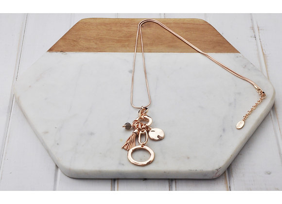 Lilly Co - Rose Gold Ring Tassel Necklace