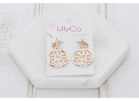 LillyCo - Cut out Pendant Earring Rose Gold