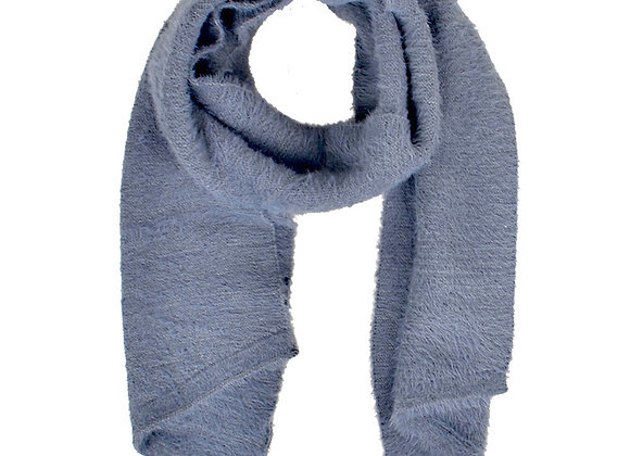 Furry Knitted Scarf Grey