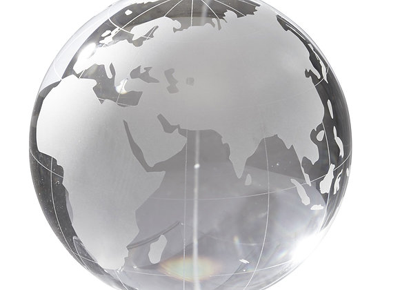 World Paperweight Clear Glass