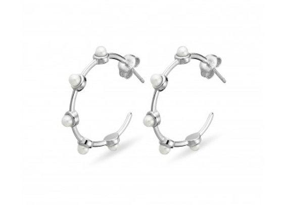 Sterling Silver hoop earring with pearl detail 27mm