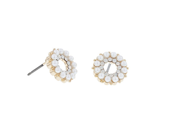 Tiger Tree - Ring of Pearl Stud Earring