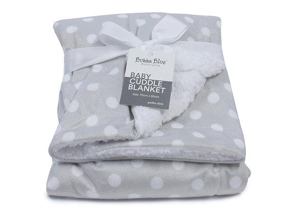 Bubba Blue - Grey Polka Dots Reversible Cuddle Blanket