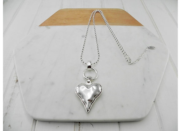 Lilly Co - Silver Ball Chain with Silver Heart Necklace
