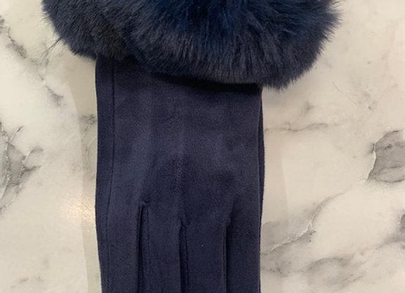 Glove fur trim - Navy