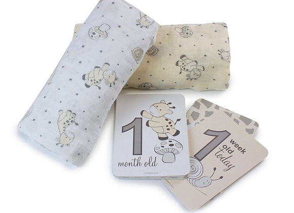 Bubba Blue - Vanilla Playtime 2pk Muslin Wrap with Milestone Cards
