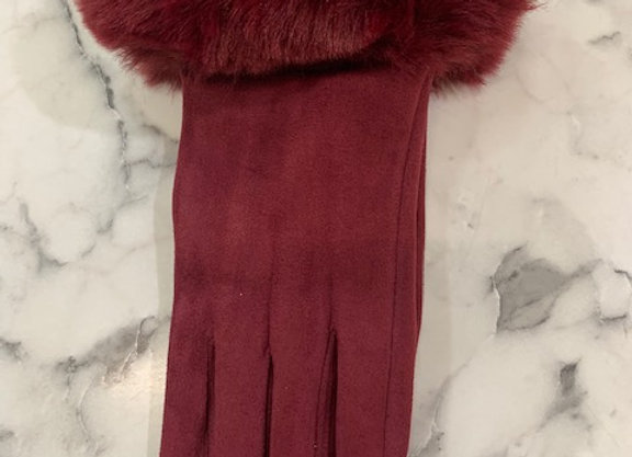 Glove fur trim - Wine