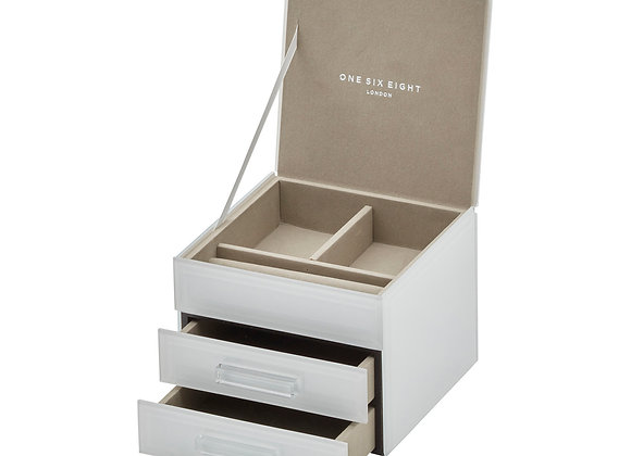 White Small Jewellery Box - 3 tier
