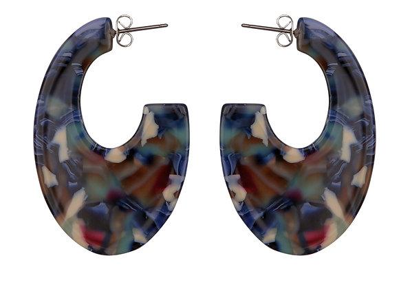 Blue Multi Acrylic Earring