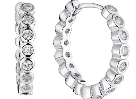 Susan Rose - Silver CZ Huggie Earring