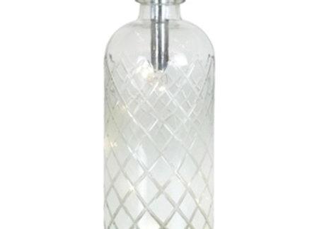 Battery LED White / clear crisscross bottle wide