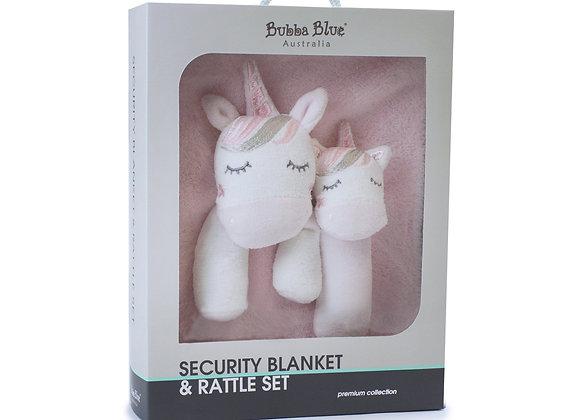 Bubba Blue - Unicorn Magic Security Blanket & Rattle Set