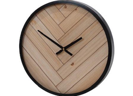 Natural Black Round Clock