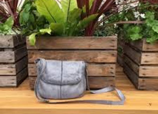 Rugged Hide Miranda Leather Cross Body Bag - Steel Grey
