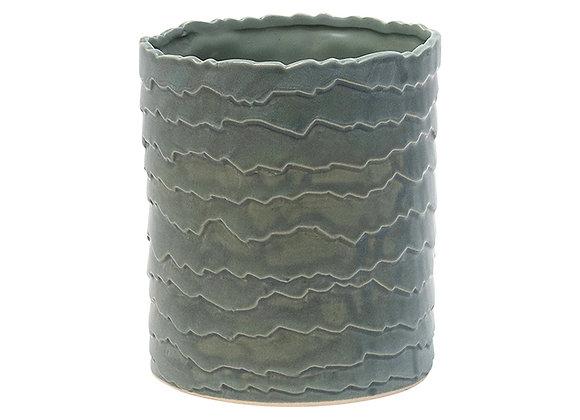 Sage Ceramic Wide Cylinder Vase