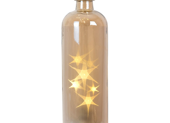 Glass Amber Bottle - LED Star - large