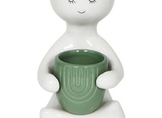 Person holding a pot Planter Green Medium 20cm