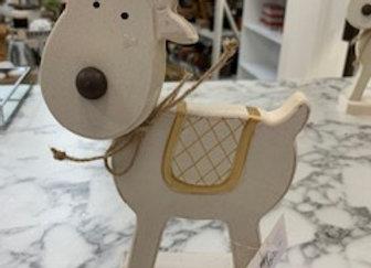 Whitewash Timber Standing Reindeer - medium