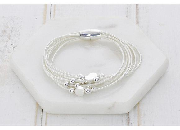 Lilly Co - Silver Multi Strand Disk Bracelet