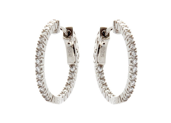 Sybella - Rhodium 20mm cubic zirconia hoop earrings