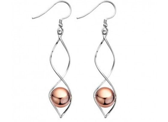 Sterling  silver long twist earring with rose plated ball