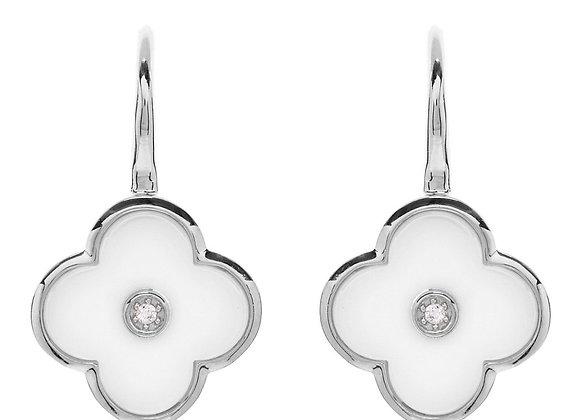 Sybella - Rhodium cubic zirconia & white ceramic flower drop earring