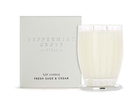Peppermint Grove - Fresh Sage & Cedar Large Candle 350g