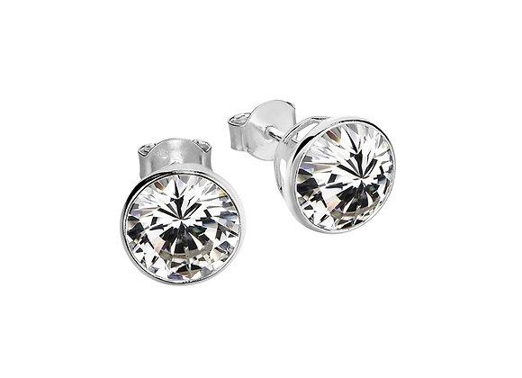 Sterling silver bezel set stud earring 6mm