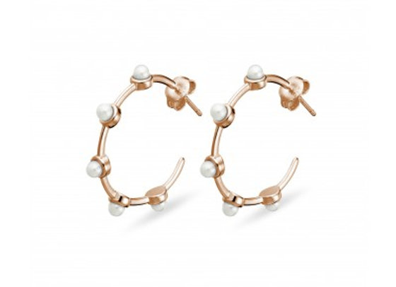 Sterling Silver rose gold plated hoop earring with pearl detail 27mm