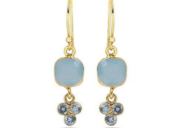 Susan Rose - Countess-Aqua Calcy Blue Quartz Gold Earring
